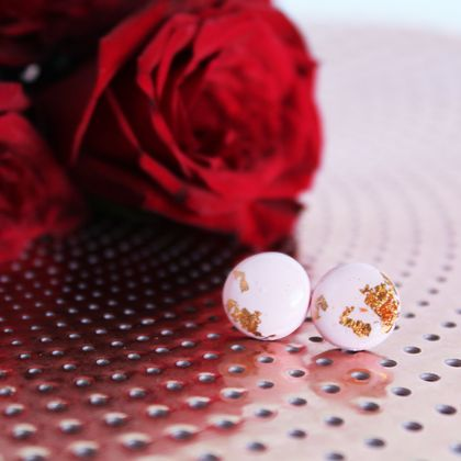Pastel Pink with Rose Gold Foil - Stud Earrings