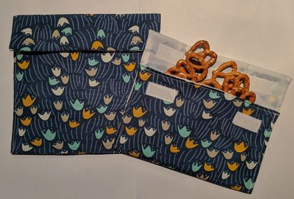 Reusable Snack Bags - Set of 2 - Eco friendly - Flower print