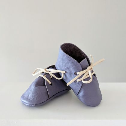 Leather baby booties - Light purple 3-6 Months Lace up