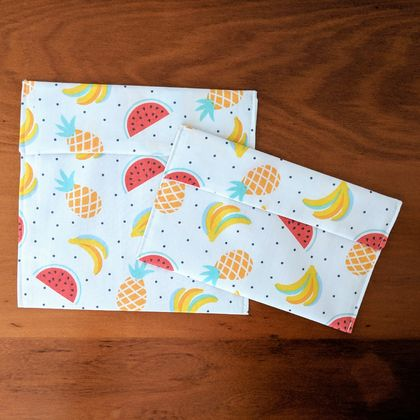 Reusable Snack Bags - Set of 2 - Eco friendly - Fruit Print