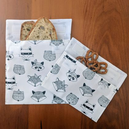 Reusable Snack Bags - Set of 2 - Eco friendly - Tribal animals print