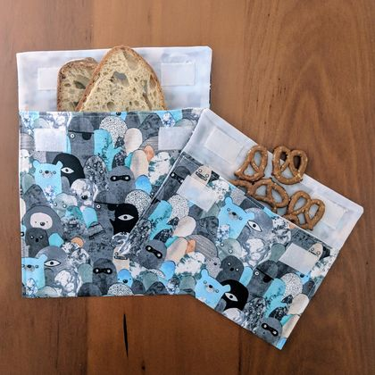 Reusable Snack Bags - Set of 2 - Eco friendly - Monsters print