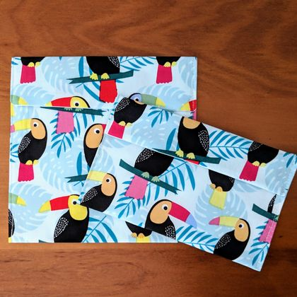 Reusable Snack Bags - Set of 2 - Eco friendly - Toucan print