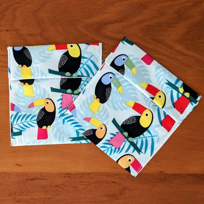 Reusable Snack Bags - Set of 2 small - Eco friendly - Toucan print