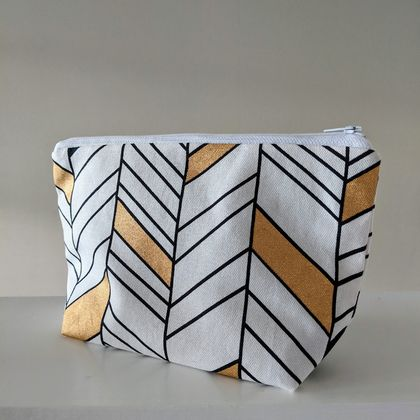 Zipper pouch Cosmetic bag Black & Gold
