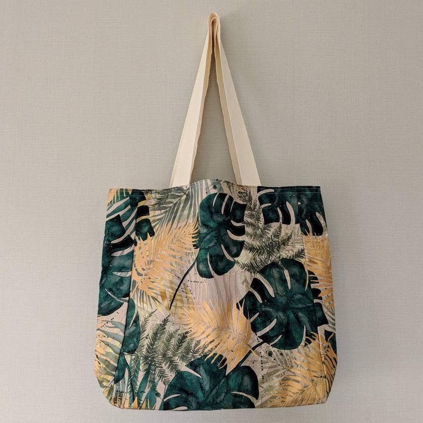 Reusable cotton Tote bag - Tropical Gold