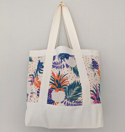 Reusable Tote bag cotton - Tropical pineapples