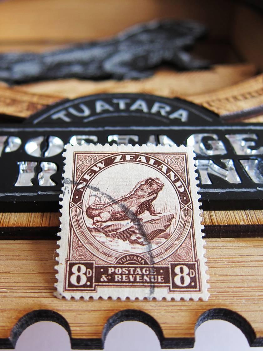 Tuatara - Vintage Postage Stamp Wall Art