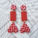 Pink x Red Check Earrings