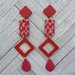 Pink x Red Check Earrings (statement)