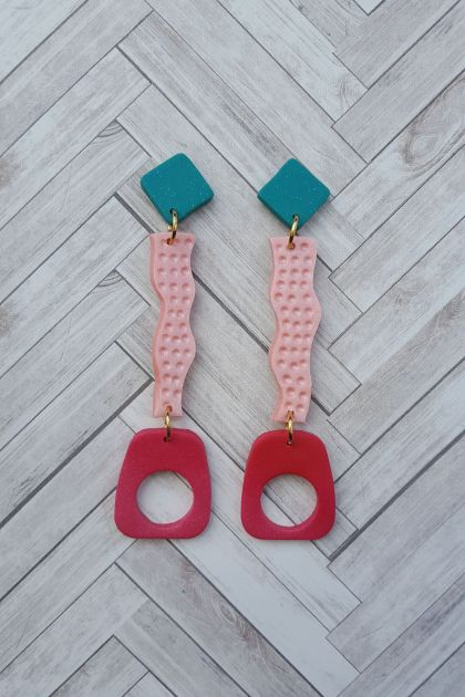 Wiggle Earrings (blue top)