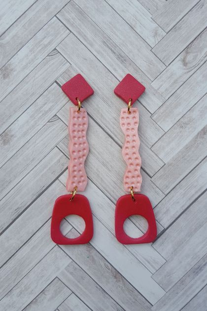 Wiggle Earrings (pink top)