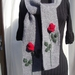 Red Rose Scarf - Hand knitted - Wool