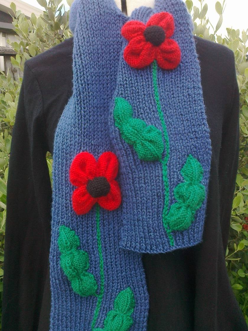 Red Poppy - Wool - Scarf