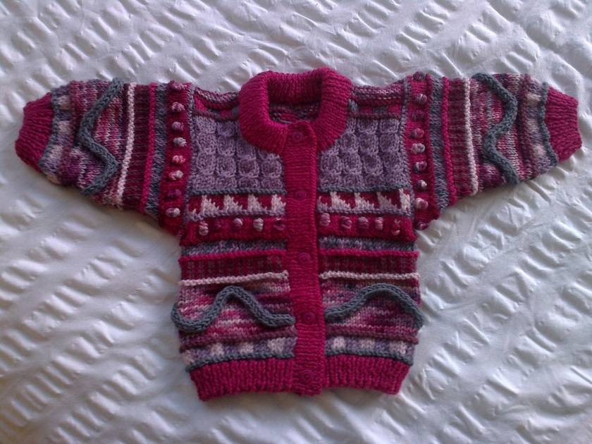 Boysenberry Ripple - Hand knitted - Wool - Cardigan