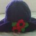 Purple Poppy Hat - Wool - Hand knitted