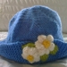 Blue Hat with Flowers - Hand knitted - Wool