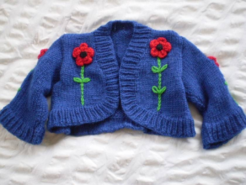 Red Poppy cropped shrug - hand knitted, wool