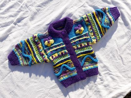 Pansy Cardigan - Hand knitted - Wool