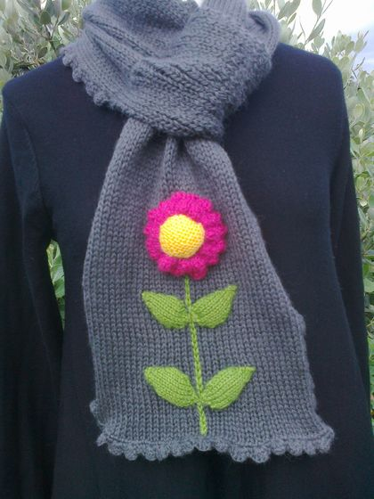 Bright Pink Flower Scarf