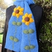 Denim Blue Sunflower Scarf - Hand knitted - Wool
