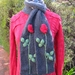 harcoal - Red Rose Scarf - Hand knitted - Wool