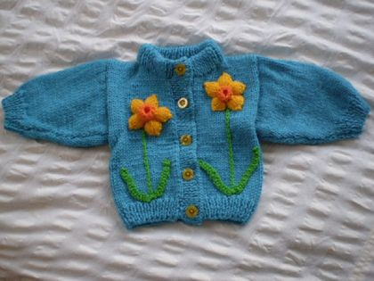 Turquoise Cardigan with Daffodils - Hand knitted - Wool
