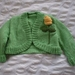 Mint green,shrug with yellow roses - Hand knitted - wool