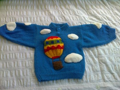 Hot Air Balloons - Hand knitted - Wool Jersey