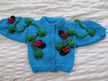 Lady Bug Cardigan - Hand knitted - Wool