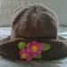 Light brown - Hand knitted - Baby hat - Flowers