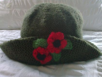 Olive green - Hand knitted - Baby Hat - Poppy