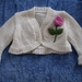 Cream cropped shrug with roses - Hand knitted - Wool