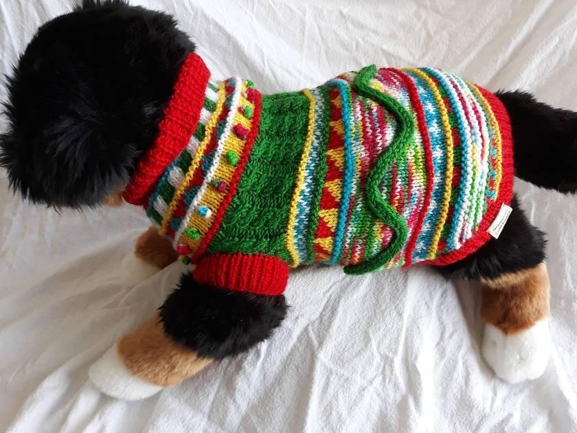 Festive Coloured Dog Coat - Hand knitted