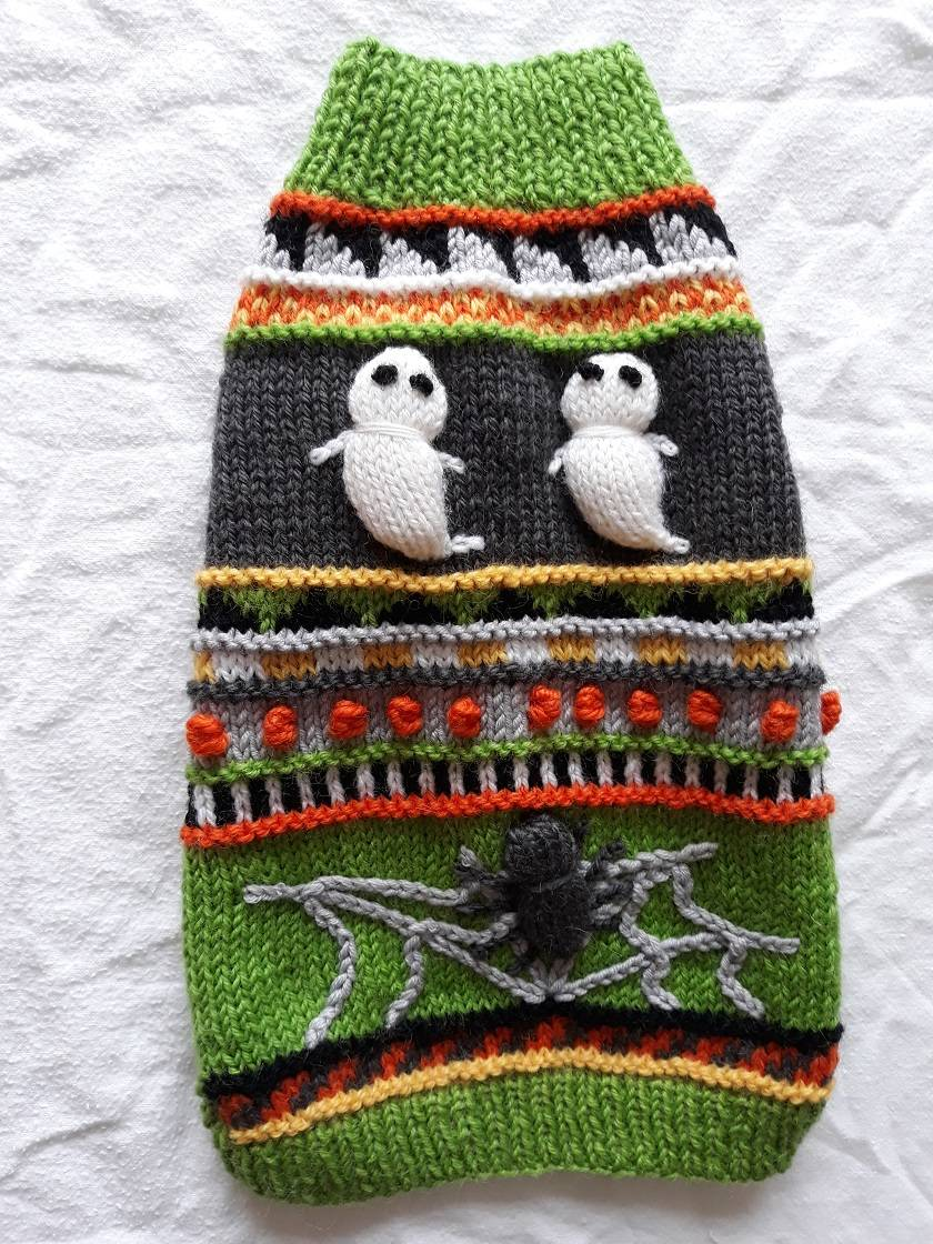 Small Halloween Pet Coat - Hand knitted - Wool