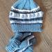 Baby Pom Pom Hat & Booties Set - Blues