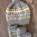 Baby Pom Pom Hat & Booties Set - Grey
