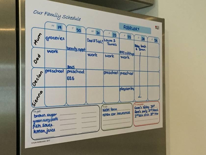 a3 family planner magnetic whiteboard felt