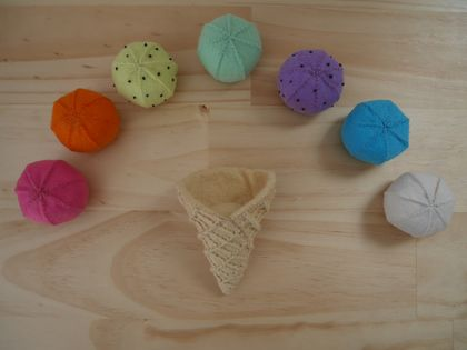 Felt toys, Felt food, Felt ice cream, Pretend playing, Food toy, Educational toys