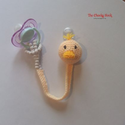 Crochet Duck Pacifier Chain.
