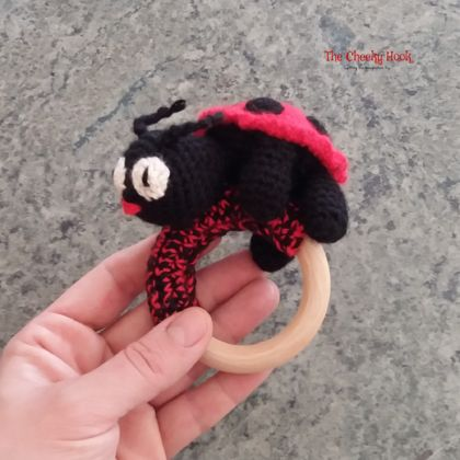 Crochet Ladybird Teether Ring.