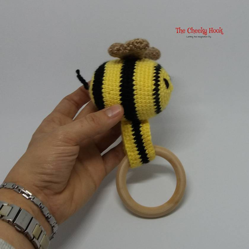 Crochet Bumble Bee Teether / Rattle.