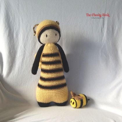 Crocheted Bumble Bee Doll.