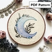 Crescent Moon Hand Embroidery Pattern - PDF FILE