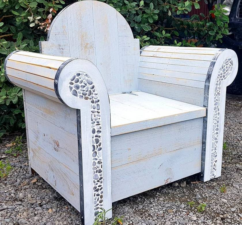 Outdoor Wooden arm chair with storage