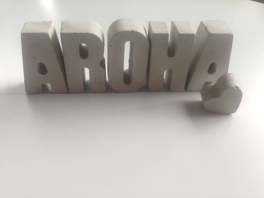 Concrete letters - AROHA