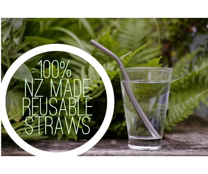 100% NZ MADE REUSABLE STAINLESS STEEL STRAWS - Kids Bent 2PK