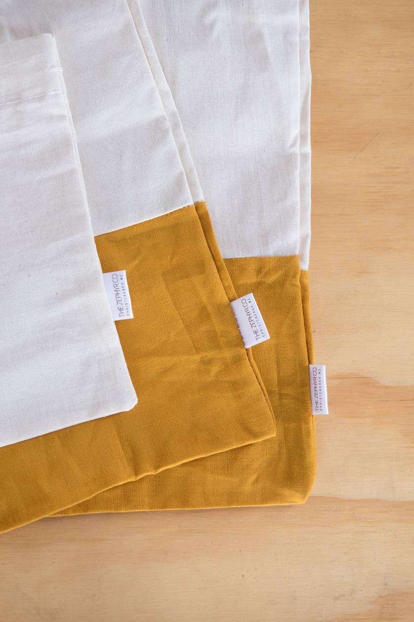 Linen Bulk Food Bags - Set of 3 - Mustard