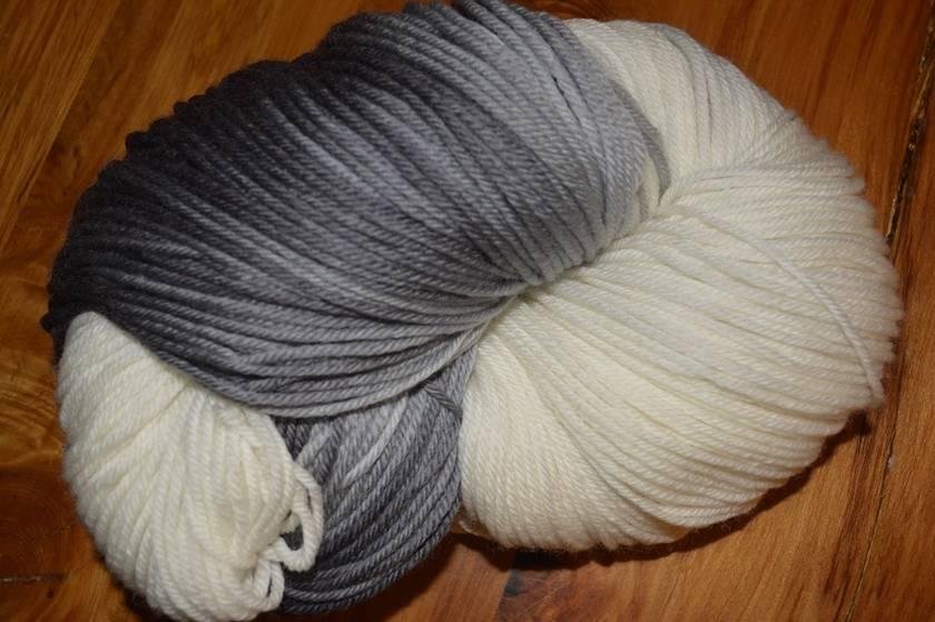 Hand-dyed machine washable 8 ply yarn