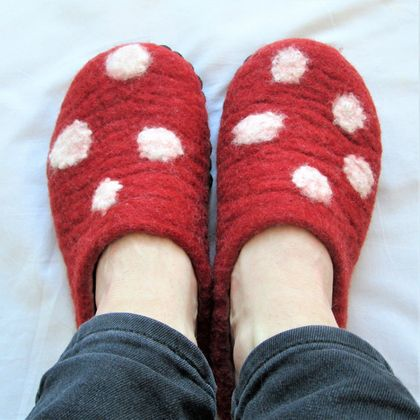 Custom made felt slippers - Womens sizes 6-12